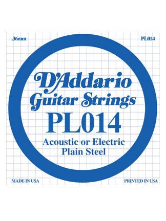 D'Addario Electric/Acoustic Guitar String - Plain Steel - .014 Gauge