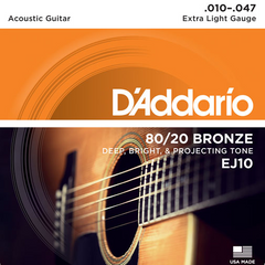 D'Addario 80/20 Bronze Acoustic Guitar Strings - Extra Light (10-47) - Set