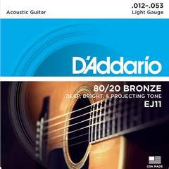 D'Addario 80/20 Bronze Acoustic Guitar Strings - Light (12-53) - Set