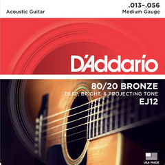 D'Addario 80/20 Bronze Acoustic Guitar Strings - Medium (13-56) - Set