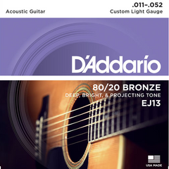 D'Addario 80/20 Bronze Acoustic Guitar Strings - Custom Light (11-52) - Set