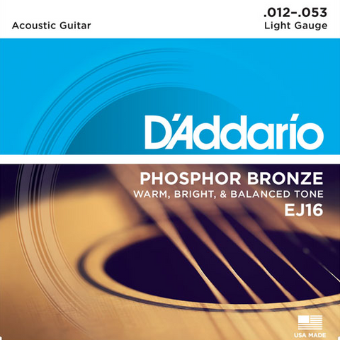D'Addario Acoustic Guitar Phosphor Bronze Strings - Light (12-53) - Set