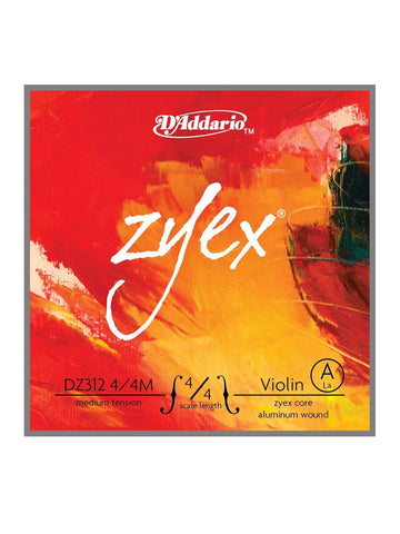 D'Addario Zyex Violin String - Medium - 4/4 - A (2nd)