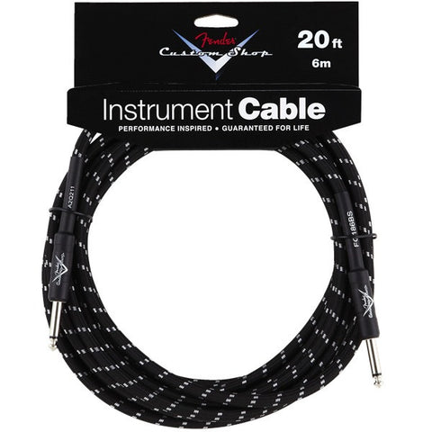 Fender Custom Shop Instrument Cable in Black Tweed - 20ft