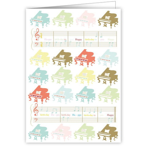 Pastel Grand Pianos Happy Birthday Greetings Card