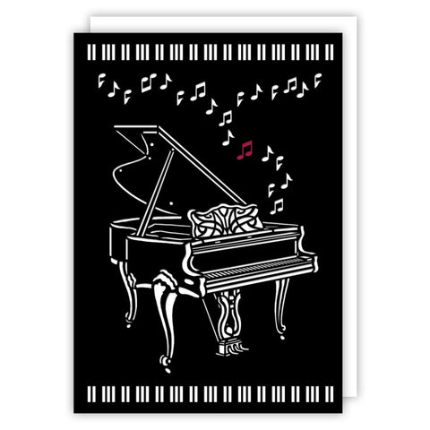 Cut Out Grand Piano Blank Greetings Card