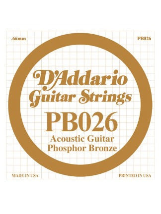 D'addario Phosphor Bronze Acoustic Guitar String - .026 Gauge