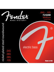 Fender 7250M Super Nickel Plated Steel Bass Guitar Strings - (45-105 Long Scale) - Set