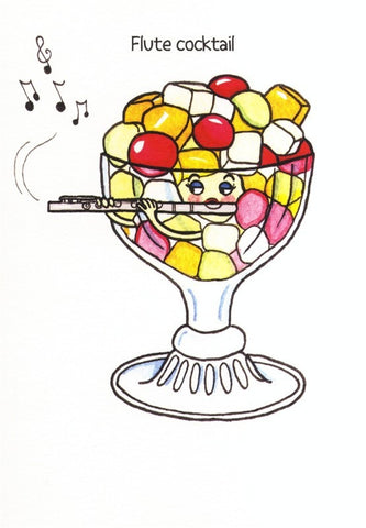 Mildew Design: Flute Cocktail - Greeting Card