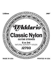 D'addario Classic Nylon Classical Guitar String - Nylon - Normal - G (3rd)