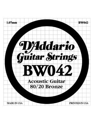 D'Addario 80/20 Bronze Acoustic Guitar String - .042 Gauge