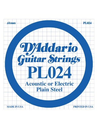 D'Addario Electric/Acoustic Guitar String - Plain Steel - .024 Gauge