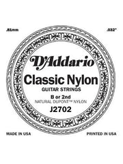 D'addario Classic Nylon Classical Guitar String - Nylon - Normal - B (2nd)