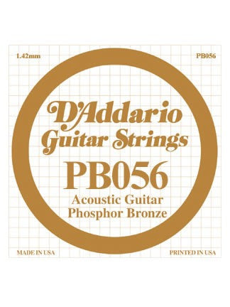 D'addario Phosphor Bronze Acoustic Guitar String - .056 Gauge