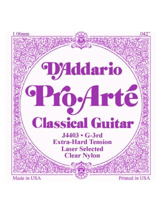 D'Addario Pro Arte Classical Guitar String - Nylon - Extra Hard Tension - G (3rd)