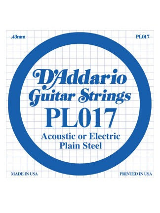 D'Addario Electric/Acoustic Guitar String - Plain Steel - .017 Gauge