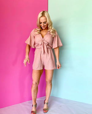 Temputure Is Rising Romper-Blush