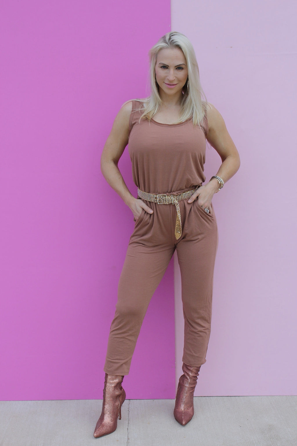 COFFEE CASUAL JUMPSUIT-dusty rose