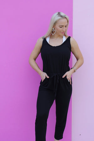 COFFEE CASUAL JUMPSUIT-Black