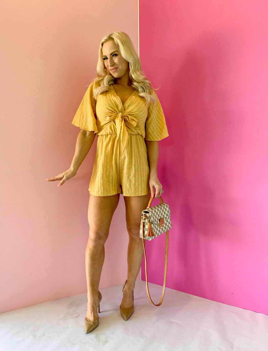 Temputure Is Rising Romper-Yellow