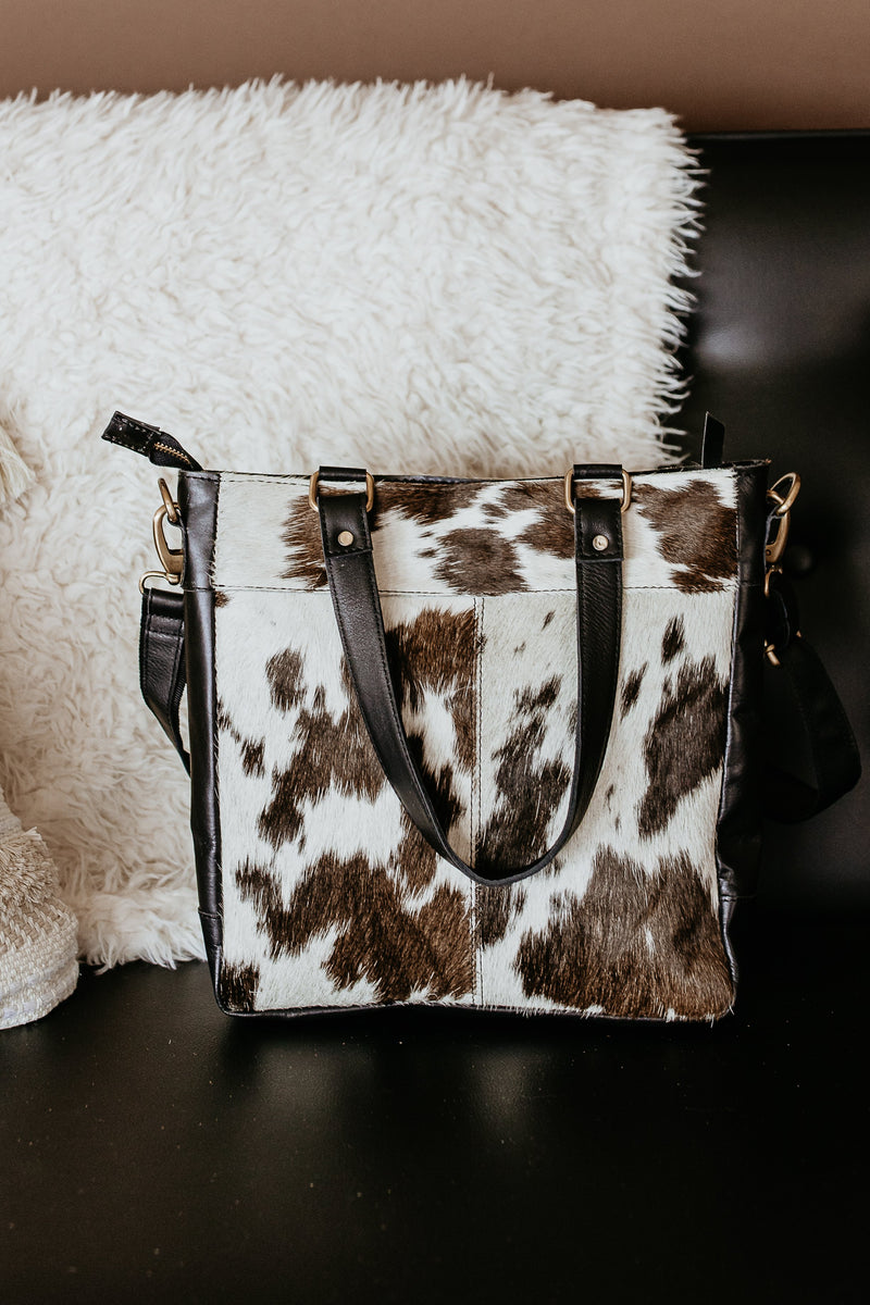 Fort Worth Cowhide Bag In Black/White