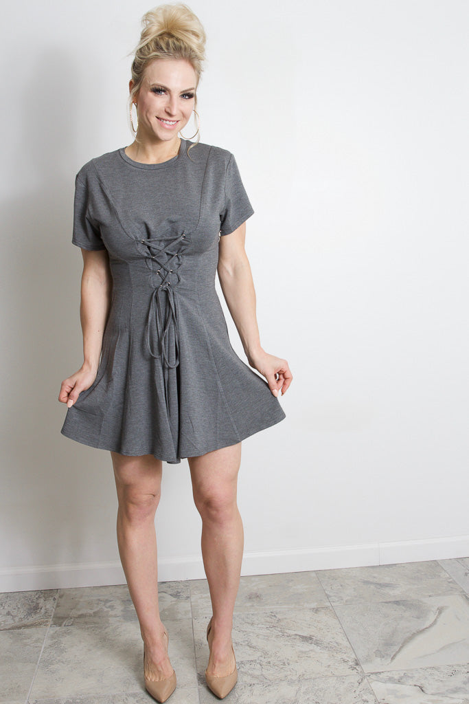 Lace Up Tee Dress - Charcoal
