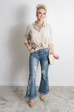 Lace Up Distressed Flare Jeans