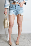 Frayed Hem Light Denim Shorts