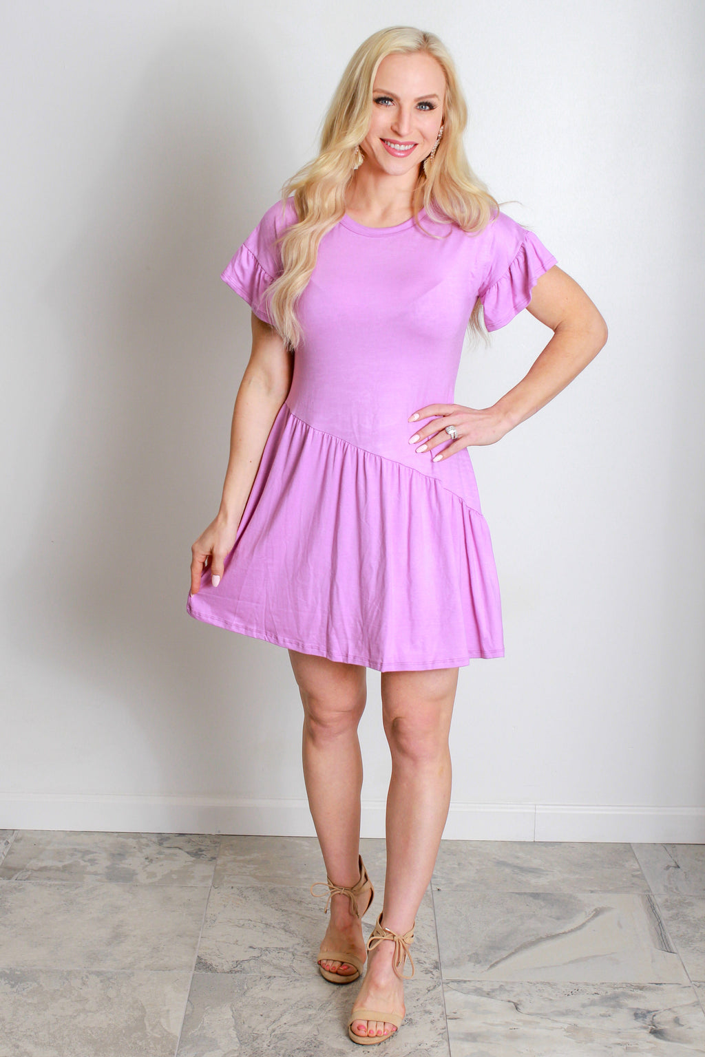 Jersey Ruffle Dress- Lavender