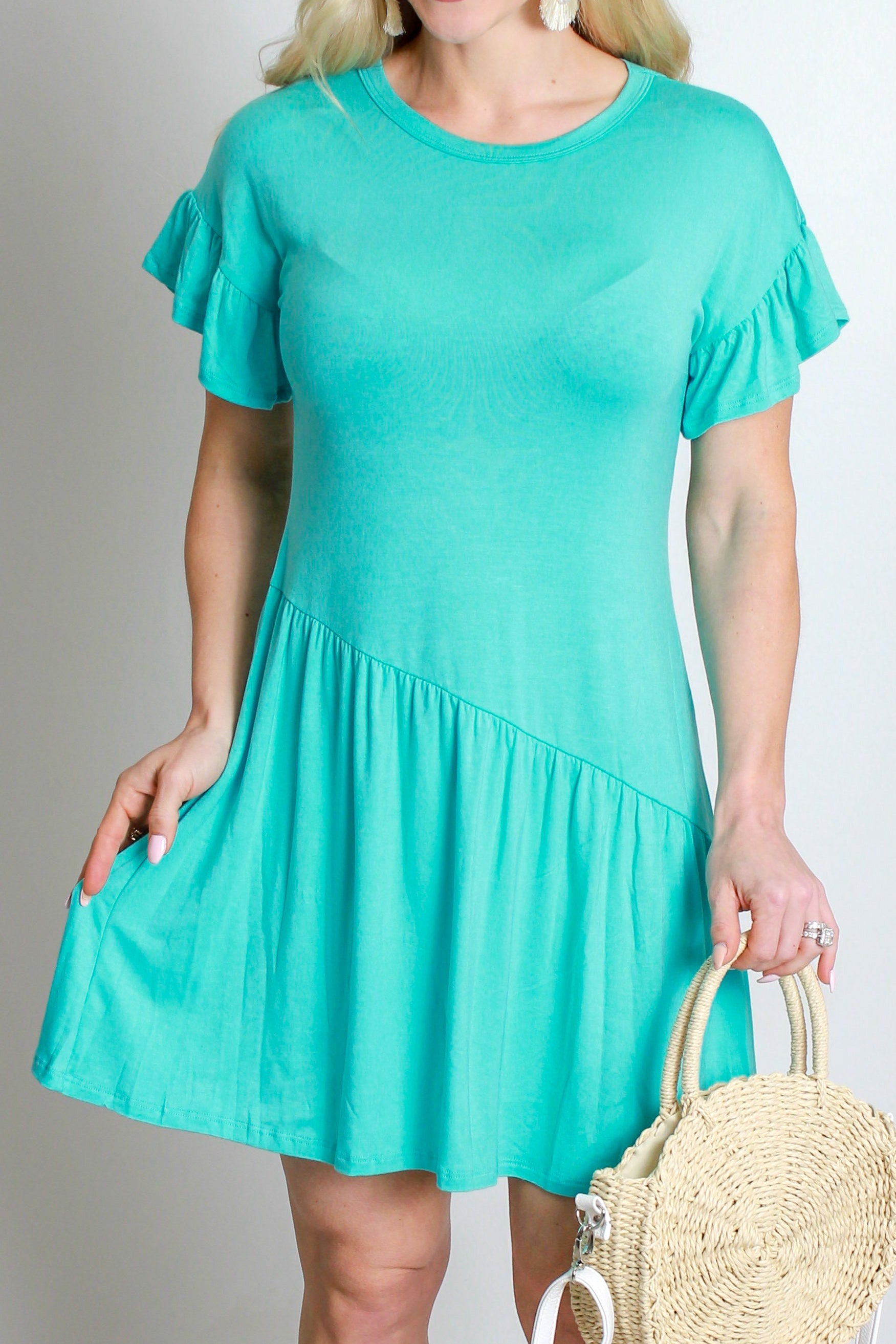 Jersey Ruffle Dress- Mint