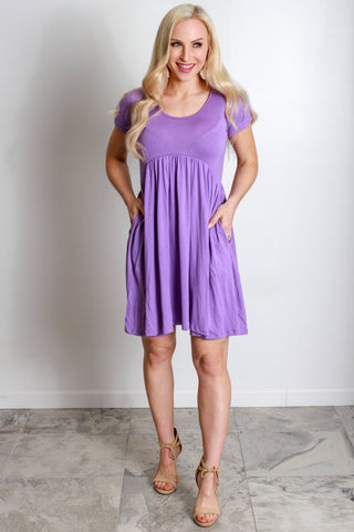 Empire Tee Dress - Lavender
