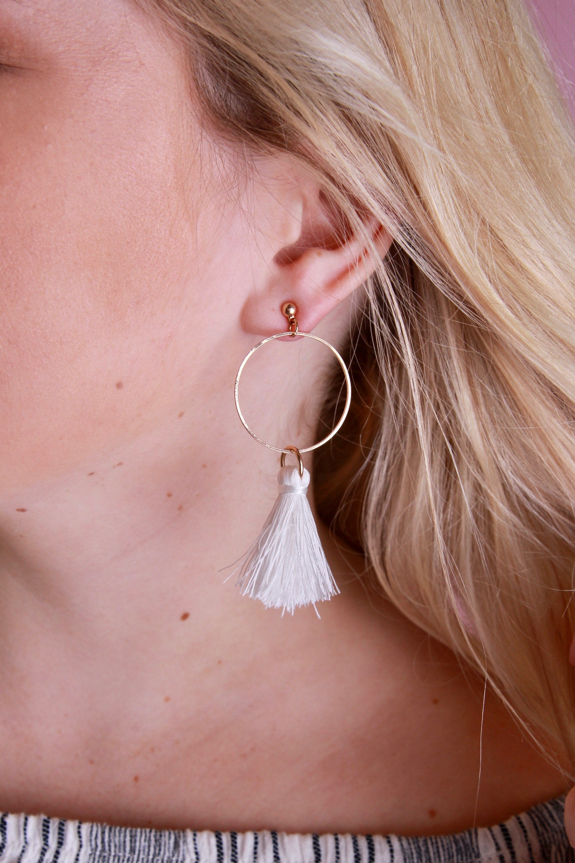 Small Tassel Earrings - Ivory