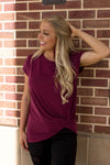 The Twist Up Tee - Maroon