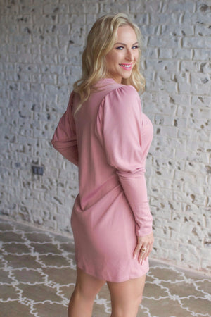 Puff Sleeve Simple Dress