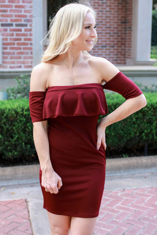 Jazzy Strapless Burgundy Dress
