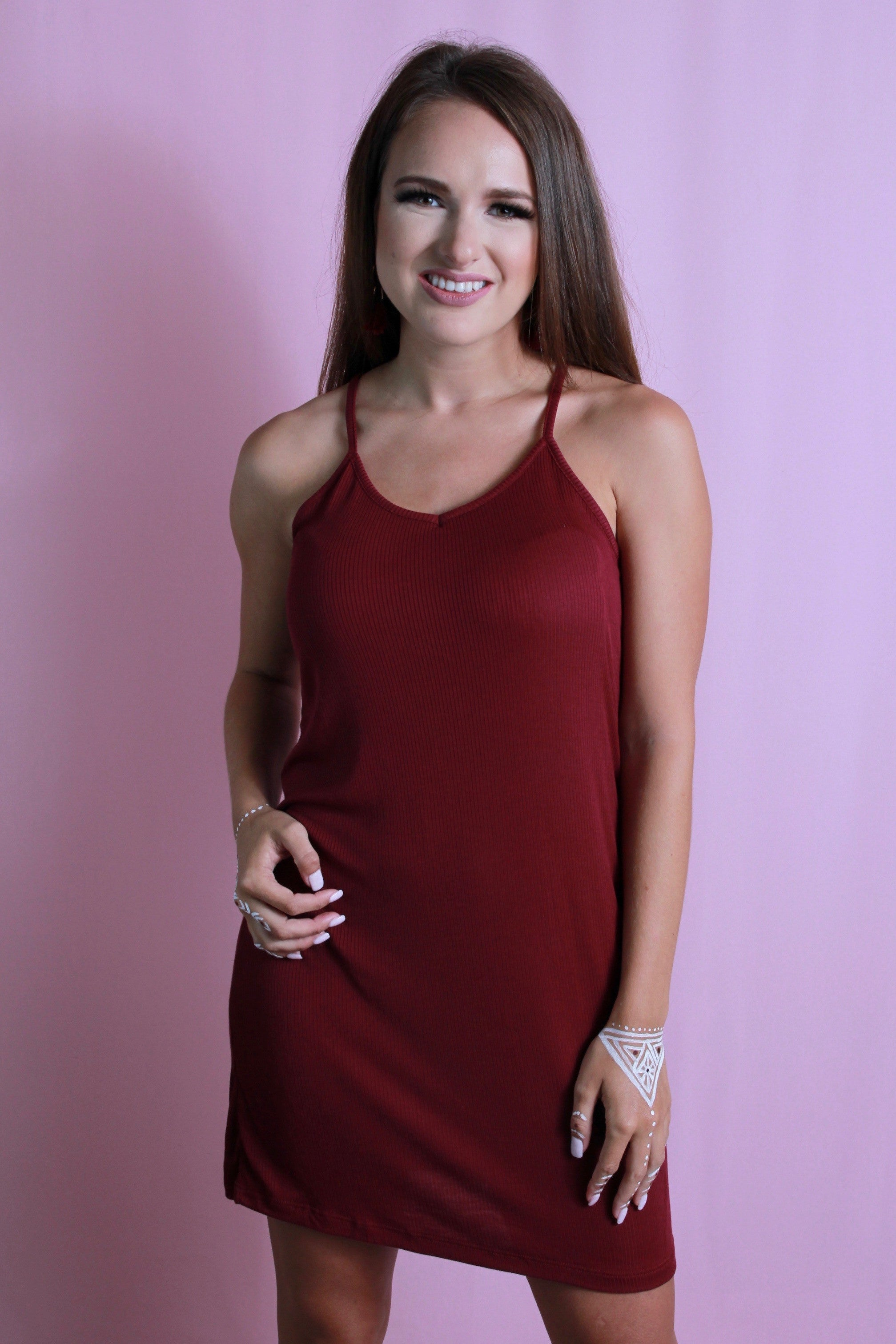 Racerback Simple Maroon Dress