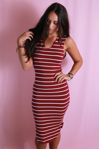 Sports Striped Midi Dress