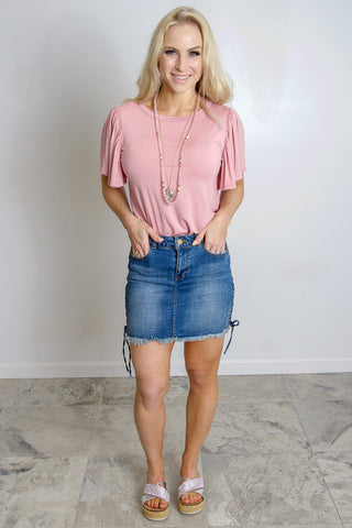 Girly Sleeved Simple Tee - Blush
