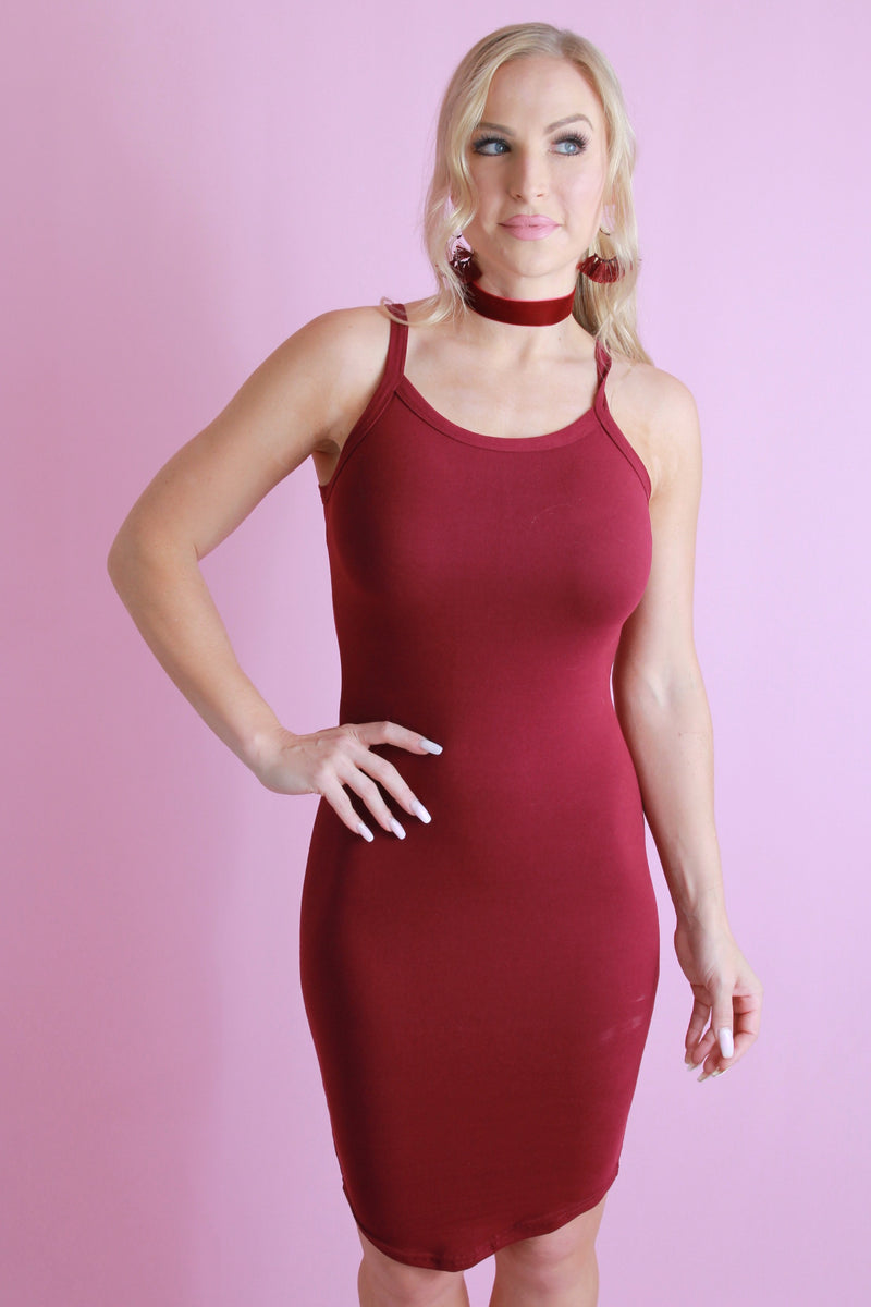 Date Night Midi Dress - Maroon