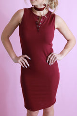 Midi Ribbed Dress - Maroon