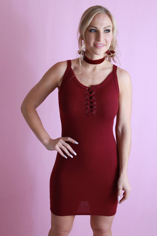 Playful Curves Dress - Maroon