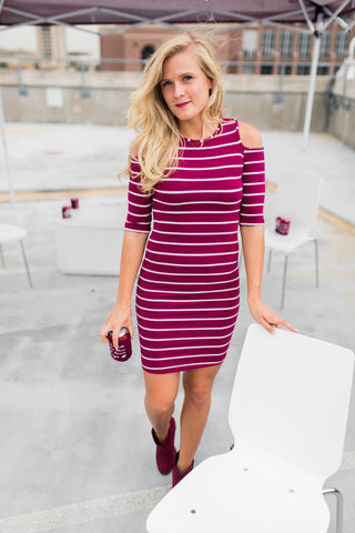 Sassy Shoulders Striped Dress