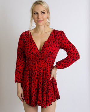 Red cheetah dress