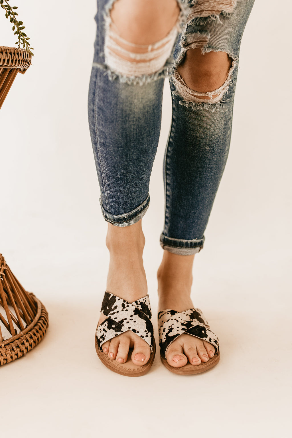 Naughty Monkey Caddo Sandals in Cow Print