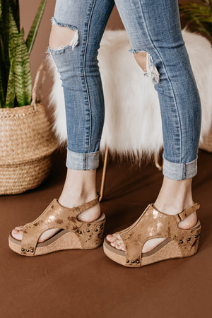 Corkys Carley Wedge in Metallic Bronze