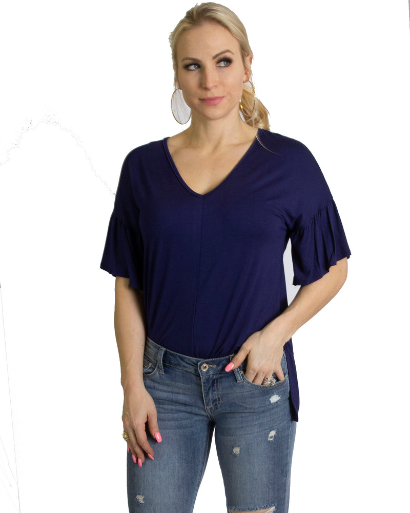 Navy short sleeve v neck t shirt