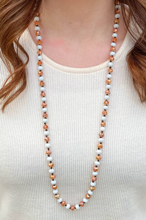 Orange and White Beaded Necklace