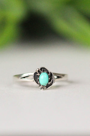 Floral Genuine Turquoise Ring