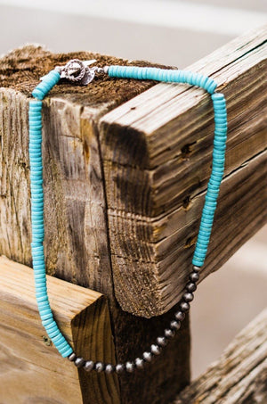 Turquoise Rondel Necklace with Navajo Pearl Center
