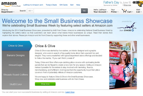 Chase/Amazon Small Business Showcase features Chloe & Olive - May/2014